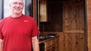 Jim Nelson, builder of a tiny house recently featured on HGTV, will display the tilting cabin at the upcoming North Dakota State Fair in Minot. Amy Dalrymple / Forum News Service