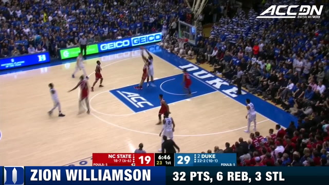 Duke's Zion Williamson Scores 32 on Wolfpack