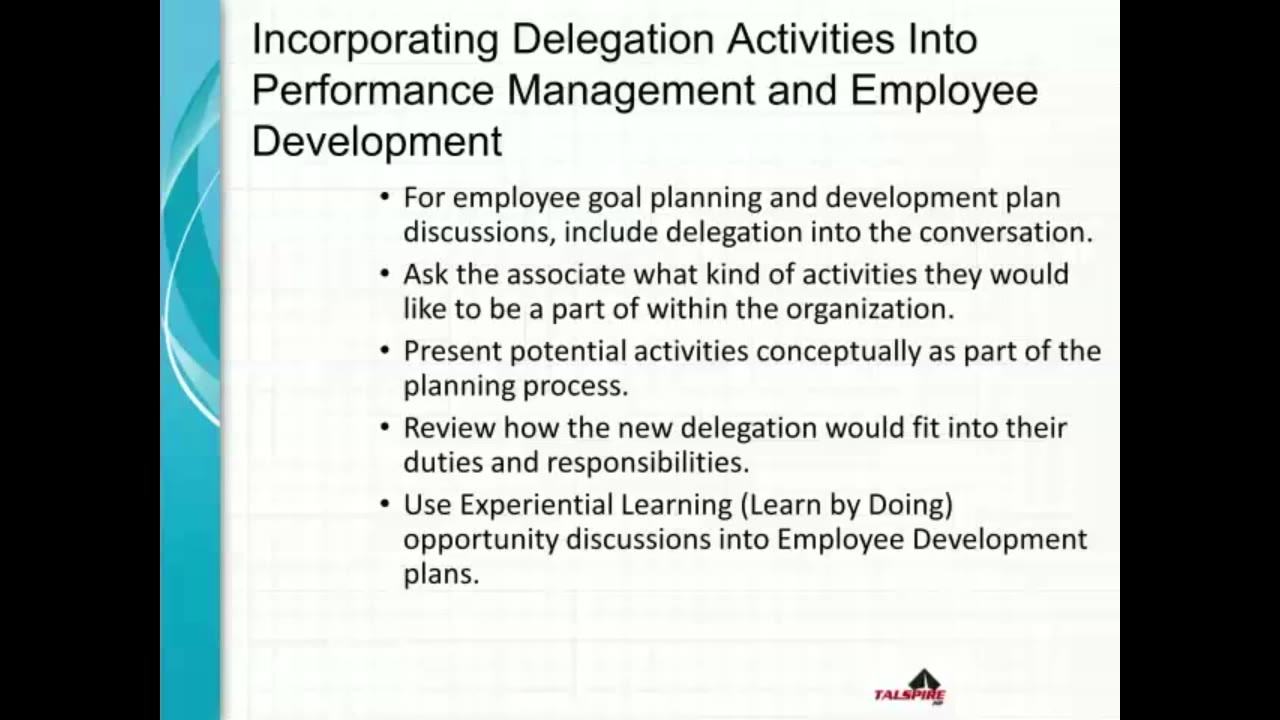 Incorporating Delegation Activities Into Performance
