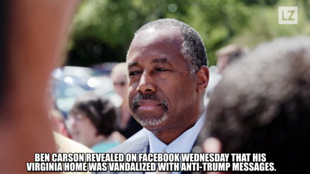Carson's Home Defaced Over Trump Ties