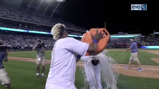 Whit Merrifield gets the Salvy Splash after walk-off hit