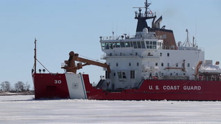 USCGC Mackinaw breaks up harbor ice