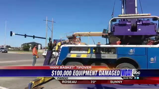 $100,000 telescopic man basket tips over