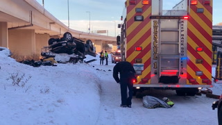 Two injured after vehicle went off elevated section of I-35 in Duluth