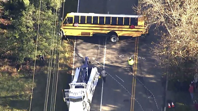 School bus crashes, flips over in Maryland