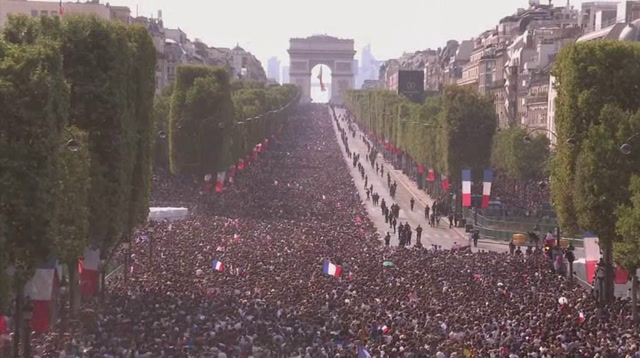 Massive Crowds Fill Paris to Welcome WC Champs