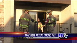 An exterior wall of an apartment in South Fargo caught on fire Sunday evening