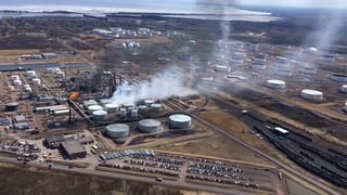 Aerial footage of fire at Husky Energy