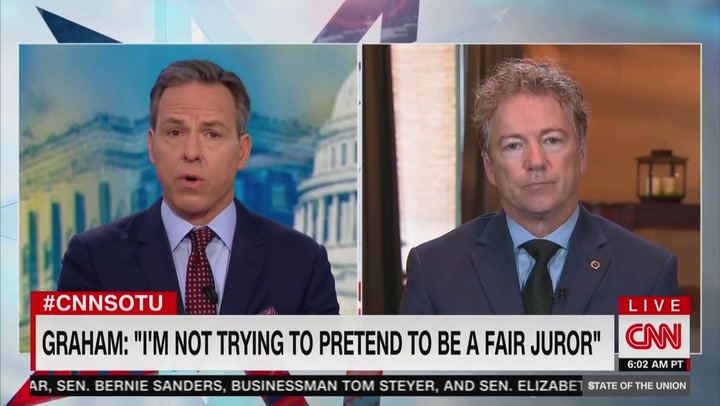 Jake Tapper Grills Rand Paul on Ukraine: You Really Think Trump's 'Concerned About Rooting Out Corruption?'