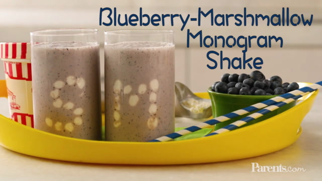 Blueberry-Marshmallow Monogram Shake