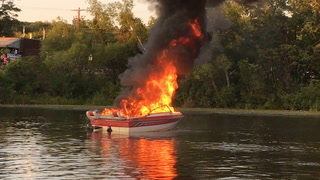 Runabout boat destroyed by fire in Gull Lake Narrows