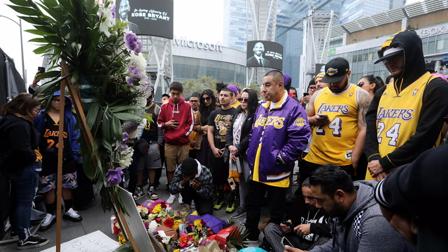 Mourners gather in Los Angeles after Kobe Bryant's death