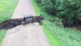 The Renville County Sheriff's Office reports a 16-year-old driver hit a road washout Tuesday morning, July 3, 2018, on 720th Avenue in Flora Township in southern Renville County. The location was on , approximately two miles north of Redwood Falls. The driver survived due to his seat belt and airbags, according to law enforcement officials.