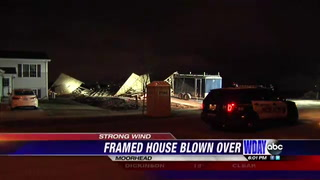 Wind gusts knock down house in the beginning stages of building