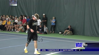 After missing last year's North Dakota state tennis tournament because of a knee injury, Fargo South's Davis Lawley is aiming to reclaim his state title this week in Grand Forks. Dave Wallis / The Forum