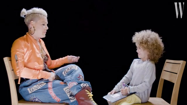 Pink Gets Interviewed by a Cute Little Kid