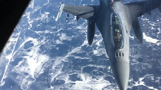 F-16 refueling over northern Minnesota