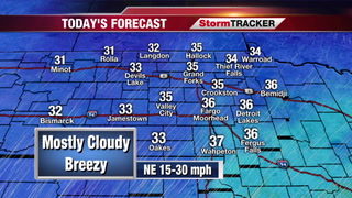 Mostly Cloudy and Breezy Today