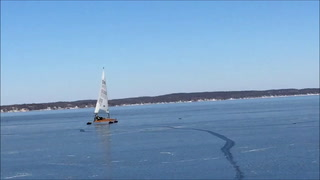 A trio of DN iceboats make a turn in this submitted photo from a regatta on Green Lake in Wisconsin. The racers will be on the ice of Green Lake in Kandiyohi County this weekend.