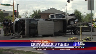 Rollover crash at 13th Avenue and Page Drive, driver suffers cardiac attack