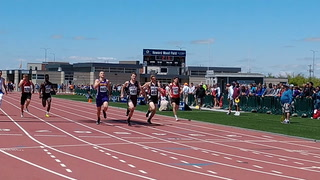 Freeman sophomore Collin Helma holds off White River's Nick Sayler to win the Class B boys 200-meter dash on Saturday at Howard Wood Field in Sioux Falls. (Nick Sabato / Republic)