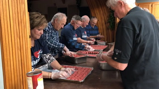About 15 people prepared meatballs on Wednesday at Calvary Lutheran Church for their annual supper, which is set for 4 to 7 p.m. Thursday, Nov. 30, at the church. (Jillian Gandsey | Bemidji Pioneer)