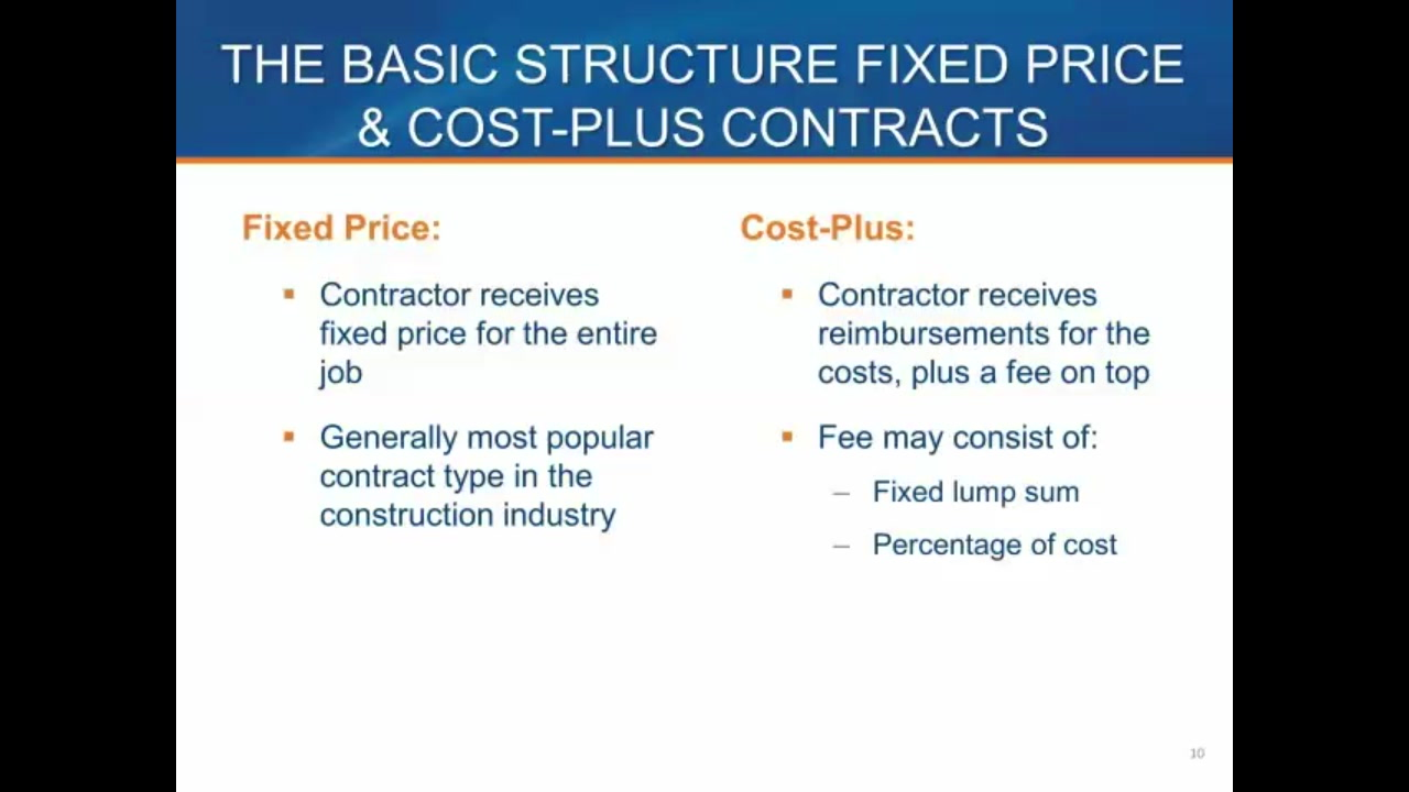 Fixed price vs cost plus contracts video lorman for Cost plus contract example