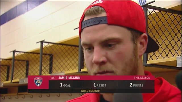 Panthers winger Jamie McGinn disappointed by turnovers Tuesday night