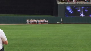 Mitchell Area Children's Choir sings the National Anthem at the Twins/Indians game on Saturday