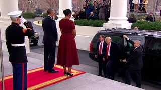 Obamas welcome the Trumps