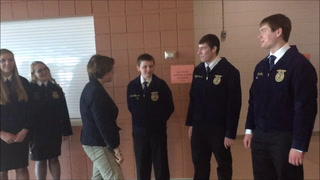Senator Klobuchar, in the FFA classroom at Atwater-Cosmos-Grove City High School, hears about the growth of FFA over nearly 70 years. The organization was all boys until 1969 when girls broke down the barn door and were allowed to join. Membership is now 50/50 nationally with girls the majority in leadership positions.