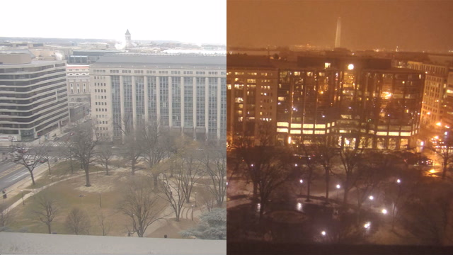 Timelapse: Watch snow blow into D.C. from the roof of The Washington Post