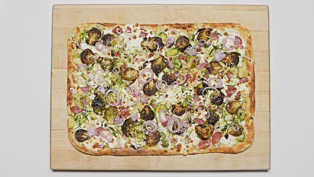 Skillet Brussels Sprouts and Salami Pizza