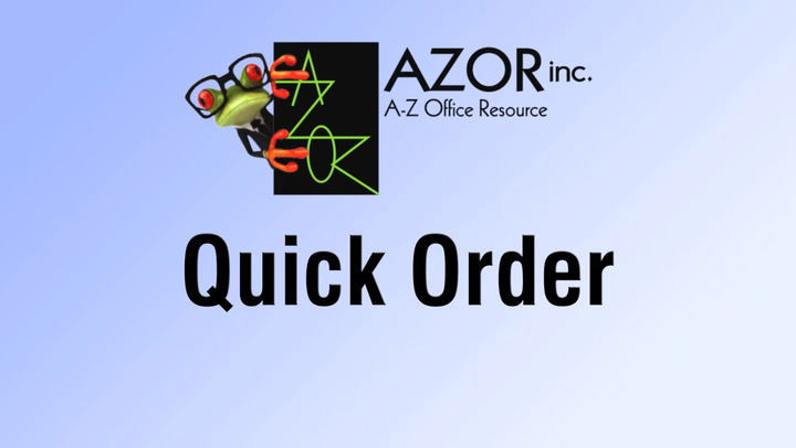 Quick Order at shop.AZORinc.com