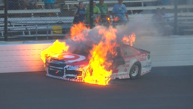 Kyle Larson bursts into flames after hitting the wall | 2017 BRICKYARD 400