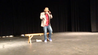 """Nicholas Mortenson plays Lemuel T. Thwackbusher in Jamestown High School Drama's production of """"The Cop and the Anthem"""" to be performed at 7 p.m. Friday, April 8, in the JHS Auditorium. JOHN M. STEINER   THE SUN"""