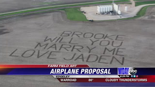 Marriage proposal etched in Edgeley field