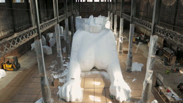 "Watch Kara Walker (And Team) Construct The Massive ""Sugar Baby"" Sculpture"