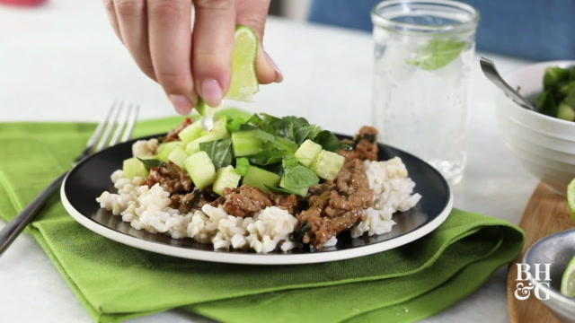 Ginger Pork with Cucumber and Herbs