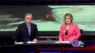 Local firefighters use drones during tank fire