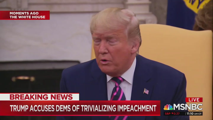 """""""You're trivializing impeachment"""": Trump reacts to House vote on impeachment articles"""