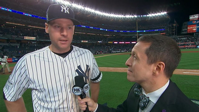 Ken Rosenthal talks with Chase Headley after the Yankees big game 4 win