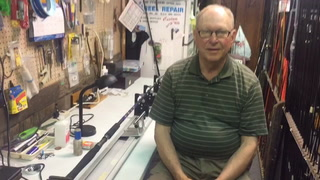 "Rob Horken talks about building custom rods in his East Grand Forks shop. Known for years as ""Ernie the Angler"" on WDAZ-TV's weekly summer fishing reports, Horken retired four years ago and keeps busy building custom rods as owner of Rob's Rod Repair and Custom Built Fishing Rods. Brad Dokken / Forum News Service"