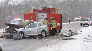 Firefighters at the scene of a fatal accident in Crow Wing County, Minn., on Tuesday, Dec. 1, 2015. Steve Kohls / Forum News Service