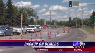 Traffic backup on Demers causes traffic congestion