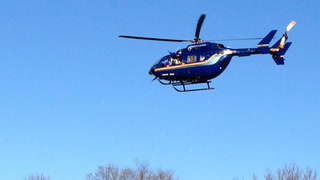 The Lake City ambulance and the Mayo One helicopter met at the city park in Old Frontenac to transfer the victim. Steve Gardiner / RiverTown Multimedia